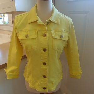 CABI Neon Yellow Denim Jean Jacket sz Medium